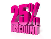 25 percent discount. Pink shiny text. Concept 3D illustration. — Stockfoto