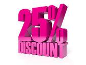 Korting van 25 procent. roze glanzend tekst. concept 3d illustratie. — Stockfoto