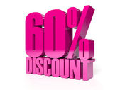 60 percent discount. Pink shiny text. Concept 3D illustration. — Stock Photo