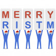 Men holding the words Merry Christmas. Concept 3D illustration. — Stock Photo #32345775