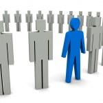 Unique person in row. Concept 3D illustration — Stock Photo #32348575