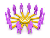 Group of 3D people working towards a common target. Concept illustration. — Stock Photo