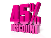 45 percent discount. Pink shiny text. Concept 3D illustration. — Stock Photo