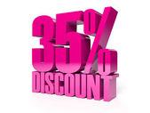 35 percent discount. Pink shiny text. Concept 3D illustration. — Stock Photo