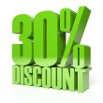 30 percent discount. Green shiny text. Concept 3D illustration. — Stock Photo #32760983