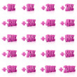 Set of 3D plus percent. Numbers. Pink on white background. Concept 3D illustration — Stock Photo #32762117