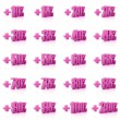 Set of 3D plus percent. Numbers. Pink on white background. Concept 3D illustration — Stock Photo