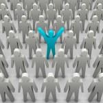 Unique person in crowd. Concept 3D illustration — Stock Photo #32762635