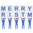 Stock Photo: Men holding the words Merry Christmas. Concept 3D illustration.