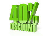 40 percent discount. Green shiny text. Concept 3D illustration. — Foto Stock