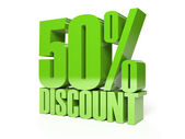 50 percent discount. Green shiny text. Concept 3D illustration. — Стоковое фото