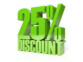 25 percent discount. Green shiny text. Concept 3D illustration. — Foto Stock