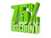 75 percent discount. Green shiny text. Concept 3D illustration. — Foto Stock