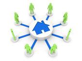Problema de casa conecta a las personas. albergue. ilustración 3d concepto. — Foto de Stock