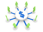 Dinheiro ligar as pessoas. fonte de financiamento. ilustração 3d do conceito. — Foto Stock