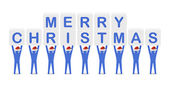 Men holding the words Merry Christmas. Concept 3D illustration. — Stok fotoğraf