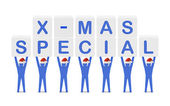 Men holding the words X-mas Special. Concept 3D illustration. — Stock Photo