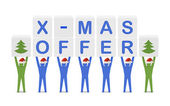 Men holding the words X-mas Offer. Concept 3D illustration. — Stock Photo