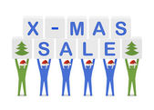 Men holding the words X-mas Sale. Concept 3D illustration. — Stock Photo