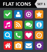 Universal Colorful Flat Icons. Set 1. — Stock Vector