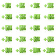 Set of 3D plus percent. Numbers. Green on white background. Conc — Stock Photo