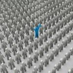 Unique person in crowd. Concept 3D illustration — Stock Photo #33957283