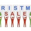 Stock Photo: Men holding the words Christmas Sale. Concept 3D illustration.