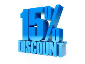 15 percent discount. Blue shiny text. Concept 3D illustration. — Stock Photo