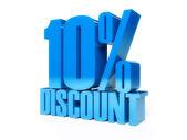 10 percent discount. Blue shiny text. Concept 3D illustration. — Stock Photo