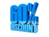 60 percent discount. Blue shiny text. Concept 3D illustration. — Stock Photo