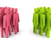 Groups of men and women. Concept 3D illustration. — Stock Photo
