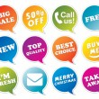Stickers set in form of speech bubbles. — Stock Vector