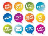 Stickers set in form of speech bubbles. — Vecteur