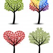 Set of trees. Eco, rainbow, hearts, money. Concept vector illust — Stock Vector #38408065