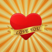 Heart with ribbon and phrase Love You. Vector concept illustrati — 图库矢量图片