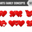 Hearts family concepts. Set 1. Vector illustration. — Stock Vector