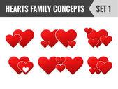 心の家族の概念。1 を設定します。ベクトル イラスト. — ストックベクタ