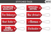 Stitched tags. Set 8. Vector illustration. — Stock Vector