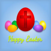 Happy Easter eggs card with cross symbol.  — Vettoriale Stock