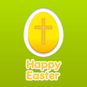 Happy Easter yellow eggs card with cross symbol. — Stock Vector