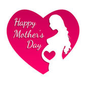 Pregnant Happy mothers day greeting card. — Stockvektor