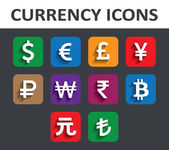 Currency Icons Set with shadow.  — Stock Vector