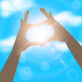 Hands in the form of heart on the background of blue sunny sky. — Stockvector