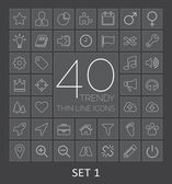 40 Trendy Thin Line Icons for Web and Mobile. Set 1 — Stock Vector