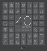 40 Trendy Thin Line Icons for Web and Mobile. Set 3 — Stockvektor