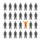 Unique person in the crowd.  — Stock Vector