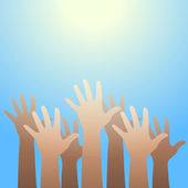 Hands raised up to the light. Faith and hope concept. — Stock Vector