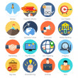 Set of colorful icons in modern flat design for Business, SEO an — Stock Vector