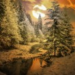 Panorama of a winter morning in the Carpathians — Stock Photo