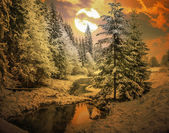 Panorama of a winter morning in the Carpathians — 图库照片
